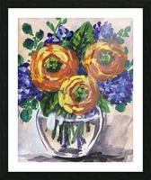 Impressionistic Flowers Warm Yellow Joy Picture Frame print