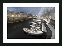 First snow in Copenhagen canal Picture Frame print