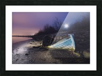 Old boat on Copenhagen shore at night  Picture Frame print