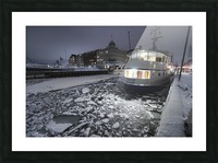 Frozen Nyhavn canal in winter Picture Frame print