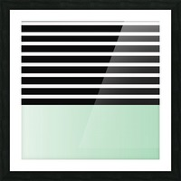 Black & White Stripes with Green Patch Picture Frame print
