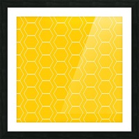 Yellow  White Hexagen Picture Frame print