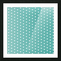 Teal Green Heart Shape Pattern Picture Frame print