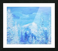 Monochromatic Blue Rocky Mountains Picture Frame print