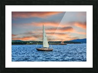Sailboat and Lighthouse Picture Frame print