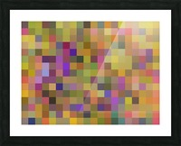 geometric square pixel pattern abstract in yellow green purple Picture Frame print
