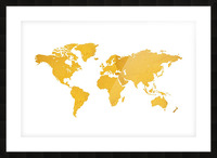 Golden World Map - White Background Picture Frame print