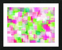geometric square pattern abstract background in pink and green Picture Frame print