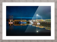 NIGHT TIME AT THE WHARF with textures Picture Frame print
