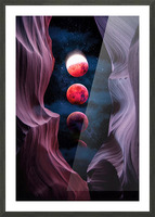 Grand Canyon with Space & Bloody Moon - Collage V Picture Frame print
