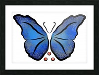 Deonioro - deep blue night butterfly with pearls Picture Frame print