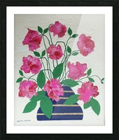 Flowers in navy blue vase  Picture Frame print