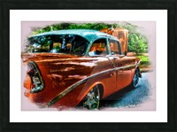 Classic Orange Car in Park Painting Picture Frame print