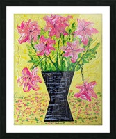 Pink Flowers in vase  Picture Frame print