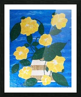 Yellow flowers in vase  Picture Frame print