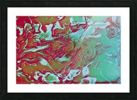Fire and Ice - turquoise red gradient abstract swirl wall art Picture Frame print