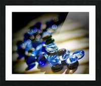 Blue Mosaic Glass Gems Picture Frame print