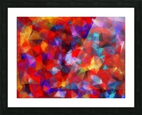 geometric triangle pattern abstract background in red blue yellow Picture Frame print