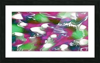 Plums & Lime with Mint Leaves - purple green white swirls and spots large abstract wall art Picture Frame print