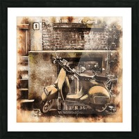 moped scooter parked building Picture Frame print