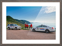 RCMP with cruisers at French Mountain Monument Picture Frame print
