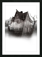 haunted night building Picture Frame print