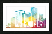 silhouette cityscape building icon color city Picture Frame print