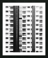 white and black city buildings Picture Frame print
