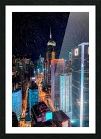 high rise buildings with lights Picture Frame print