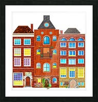 town buildings old brick building Picture Frame print