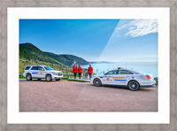 RCMP at ease with cruisers at French Mountain Monument Picture Frame print