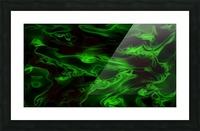 Green Plasma - green black swirls large abstract wall art Picture Frame print