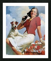 vintage poster soda woman and dog Picture Frame print