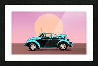 car poster retro vintage landscape Picture Frame print