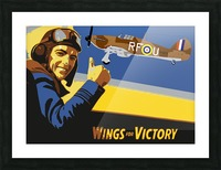 vintage war pilot airplane victory Picture Frame print