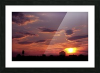 Manasas Battlefields Sunset With Statue Silhouette in left Corner Picture Frame print