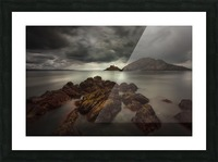 Storm clouds over Mumbles lighthouse Picture Frame print