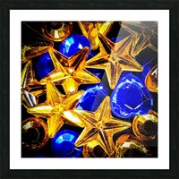 Blue and Gold Plastic Jewels Picture Frame print