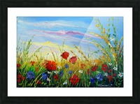 Summer flowers in the oil painting field Picture Frame print