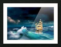 Hard way sailboat. sailing ship Picture Frame print