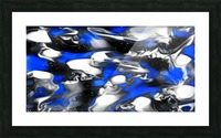 Booster - blue white black silver spots swirls abstract wall art Picture Frame print