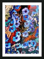 floral mottled indigo Picture Frame print