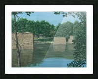 Stone Piers Housatonic River - Newtown Scenes 18 X 24  Picture Frame print