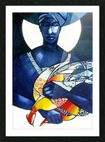 Blue Woman with a bird Picture Frame print