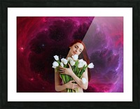 Girl with tulips. Madonna 3 Picture Frame print