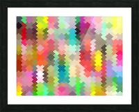geometric square pixel pattern abstract in red blue green yellow Picture Frame print