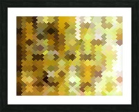 geometric square pixel pattern abstract in yellow and brown Picture Frame print