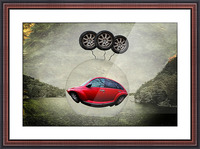 a flying car Picture Frame print
