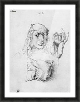 Study sheet with self-portrait, hand, and cushions Picture Frame print