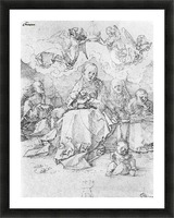 Holy Family crowned by two angels Picture Frame print